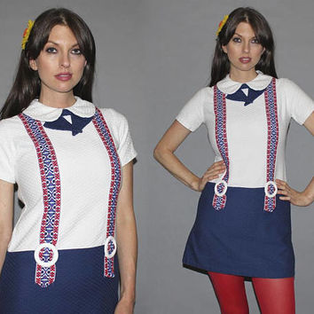 Vintage 60s Americana MINI DRESS / Mirco Mini Shift Dress / Suspender Illusion, Peter Pan Collar / Red, White and Blue, Patriotic / Small
