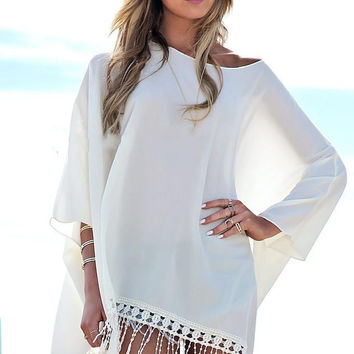 Beach Wear Chiffon Shirt Poncho Tassel Long Shirt Pullover Loose Batwing Sleeve Cover-Ups Casual