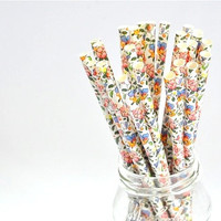 Paper Straw Floral - Flower x 25