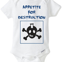 Funny Baby Bodysuit Halloween Costume: Appetite for Destruction Goth Rocker Shirt Skulls Baby Onesuit - Guns n Roses