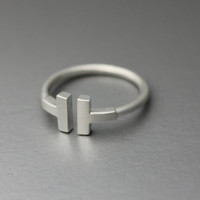 T Silver ring, T 925 Sterling Silver Ring, double bar ring,