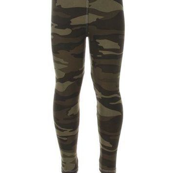 Girl's Camouflage Leggings Army Green: S/M/L