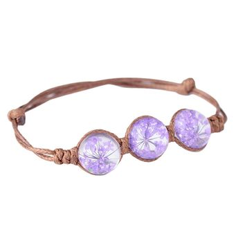 New Spring  Summer Boho Style Vintage Dried Flowers Glass Ball Bracelet Weave Lucky Grass Bracelets Jewelry
