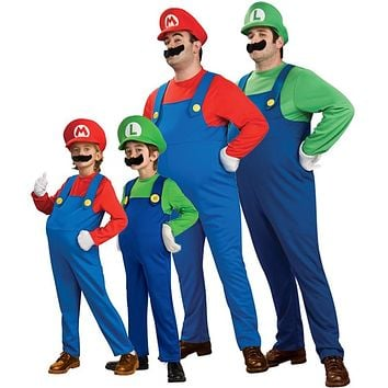 Cosplay Adults and Kids Super Mario Bros Cosplay Dance Costume Set Children Halloween Party MARIO & LUIGI Costume for Kids Gifts