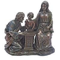 A Holy Family at the workbench Veronese statue in lightly hand-painted cold-cast bronze, 8 inches.