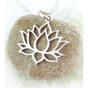 Clean and Modern Cutout Lotus Necklace