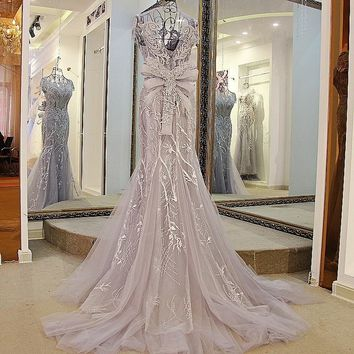 Sleeveless O-Neck Embroidered Crystal Mermaid Wedding Dress