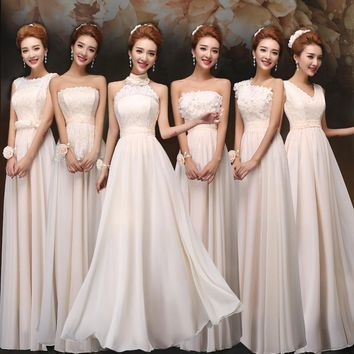 Free Shipping 2016 hot White Chiffon long lace Gown  Formal Elegant Bridesmaid Dresses Party Dresses vestidos de fiesta