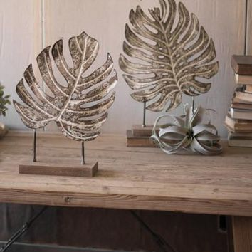 Set Of 2 Metal Monstera Leaves On Wooden Bases