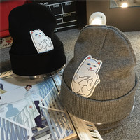 Rip D Dip Cat Knit Pullover Winter  Hats [9067493572]