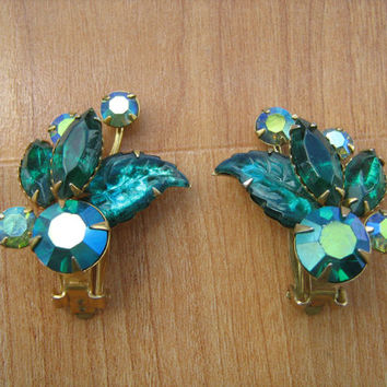 Beaujewels green rhinestone clip on earrings vintage