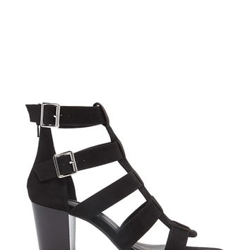 Faux Suede Caged Heels