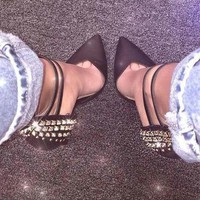 Rivets Pointed Toe Women Fashion Ankle Strap High Heels Shoes
