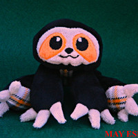SALE - Ready to Ship Sloth Pocket Plush Beanie: Small Floppy Style Fuzzy Sloth in Black and Orange