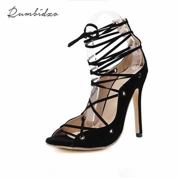 2017 Brand Sexy Tassel Women Pumps peep Toe High Heels Shoes Women Party Shoes Ladies Open Toe lace up Sandals