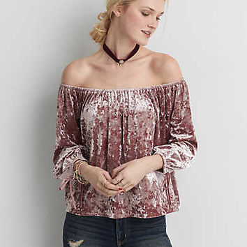 AEO Velvet Off-the-Shoulder Shirt , Pink
