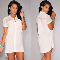 White Button Down Short-sleeve Shirt Dress