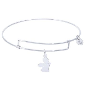 Sterling Silver Pure Bangle Bracelet With Angel Charm