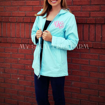 Charles River Monogram Rain Coat New Englander Personalized Rain Jacket