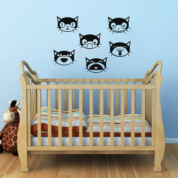 Cats Decal - Cats Wall Decals - Wall Vinyl Decal Sticker Interior Decor Childrens Room Decor Kids Room Vinyl Wall Decal Nursery Decor SV5355