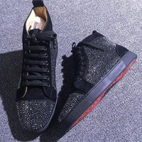 Christian Louboutin CL Rhinestone Style #1968 Sneakers Fashion Shoes Best Deal Online