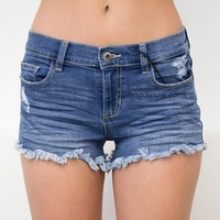 Mid Rise Frayed Shorts