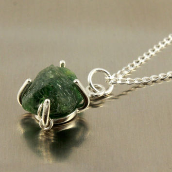 Emerald Green Necklace on Sterling Silver - Irregular Shaped Rough Stone - Natural Apetite Necklace - Rough Gemstone Jewelry