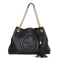 Gucci Black Leather Soho Tote Bag SHW