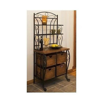 Bakers Rack Black Iron Scroll Wicker Baskets Storage Kitchen Dining 3 Tier Shelf