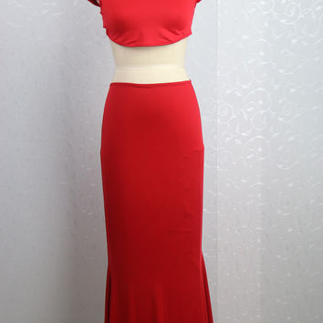 Red Cap Sleeve Cropped Top and Fishtail Maxi Skirt