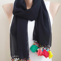 Colorful Scarf Tassel scarf Multicolored scarf floral scarf Women scarf Gift scarf Gift ideas Bridesmaids Gift Mothers Day
