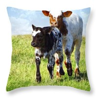 "animals - cows - Playful Calves Throw Pillow for Sale by Ann Powell - 14"" x 14"""