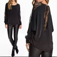 2015 fashion style women long sleeved lace batwing sleeve black T-shirt loose blouse = 1945678660
