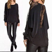 2015 fashion style women long sleeved lace batwing sleeve black T-shirt loose blouse