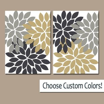 Flower WALL Art, Canvas or Prints, Gray Gold Ivory, Floral Bathroom Decor, Floral Bedroom Wall Decor, Living Room Art, Home Decor, Set of 2