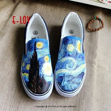 E-LOV 5 Special Painting Unisex Designs Hand-Painted Canvas Shoes Personalized Men Adu