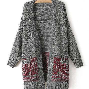 Gray And Red Pattern Longline Pocket Cardigan