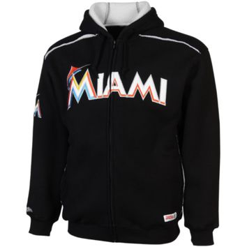 Stitches Miami Marlins Thermal Sherpa Full Zip Pullover Hoodie - Black