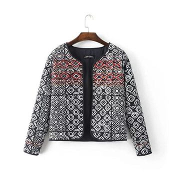 Ethnic Embroidery Beading Totem Print Quilted Jacket 2016 Women Vintage Paisley Thin Padded Long Sleeve Coat Suits