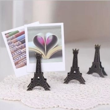 DCCKL72 1 PCS Korea Stationery Vintage Effiel Tower Paris Metal Memo Paper Clips for Message Decoration Photo Office Supplies Accessorie