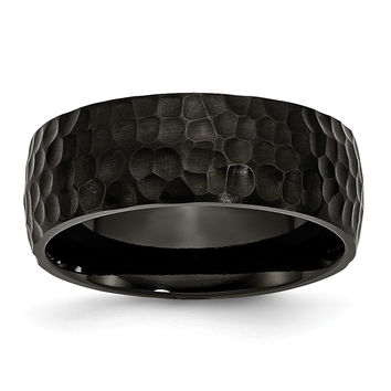 Men's Titanium Black IP-Plated Hammered Wedding Band Ring: 10