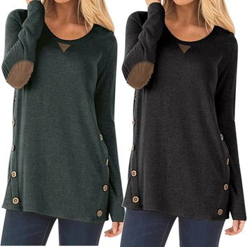 Casual Long Sleeve Round Neck Button Loose Sweatshirt