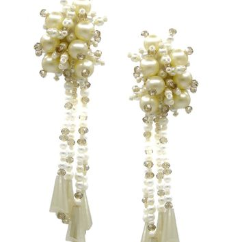Comet Cluster Pearl Clip Earrings