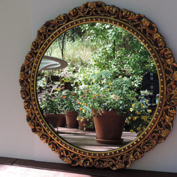 Antique Wall Mirror Vintage Gesso Mirror 1940's French Victorian Hollywood Regency Style Ornate Gold Mirror