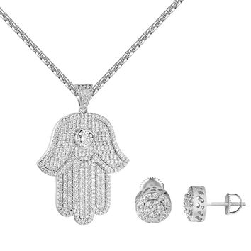 Solitaire Hamsa Hand Pendant Matching Earrings Free Chain Combo Set CZ Iced Out