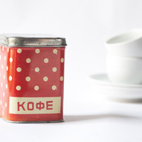 Polka dot tin canister Soviet red white tin box kitchen decor houseware tin can dotted