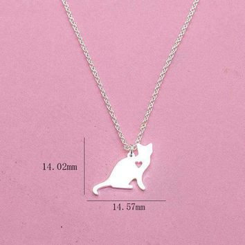 V Attract 2017 Shone Pets Cats Lover Charm Jewelry Pendant Vintage Silver Color Simple Heart Cat Necklace For Women