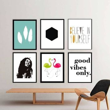 Modern Nordic Canvas Painting Typography Print Talent Musician Bob Marley Flamingo Art Print Poster Wall Picture for home Decor