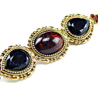 Black Faceted Glass and Amber Color Cabochon Bar Pin Large Chunky Brooch in Gold Tone