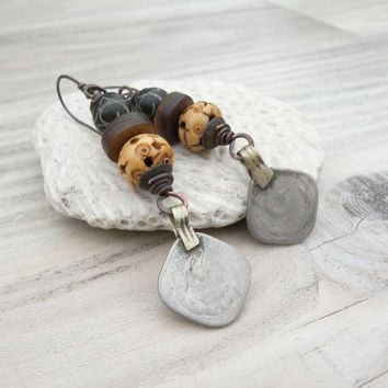 Tribal Coin and Bone Earrings, Neutral, Earthy, Mixed Metal, Dangle Earrings